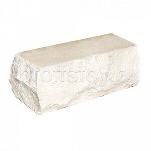 Кирпич облицовочный полнотелый полуторный угловой, скол скала, белого цвета, размер 225х90х88 мм