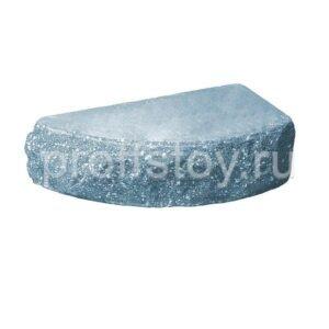 Кирпич облицовочный полнотелый одинарный полукруг, скол скала, голубого цвета, размер 225х90х65 мм