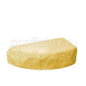 Кирпич облицовочный полнотелый одинарный полукруг, скол скала, желтого цвета, размер 250х90х65 мм