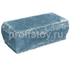 Кирпич облицовочный полнотелый полуторный угловой, скол луч, голубого цвета, размер 245х115х88 мм