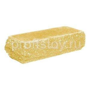 Кирпич облицовочный полнотелый одинарный угловой, скол скала, желтого цвета, размер 225х90х65 мм