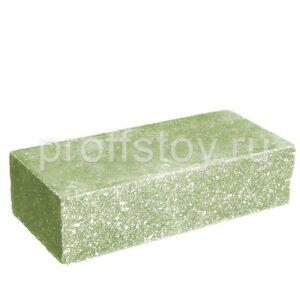Кирпич облицовочный полнотелый одинарный ложковый, колотый, цвет зеленый, размер 250х100х65 мм