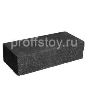 Кирпич облицовочный полнотелый, ложковый, колотый, черного цвета, размер 250х100х65 мм