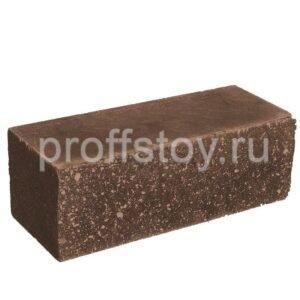 Кирпич облицовочный полнотелый, ложковый, колотый, коричневого цвета, размера 250х100х88 мм