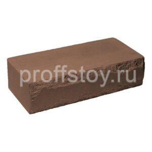 Кирпич облицовочный полнотелый, ложковый, скол луч, коричневого цвета, размер 250х115х65 мм