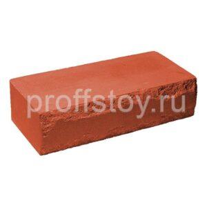 Кирпич облицовочный полнотелый, ложковый, скол луч, красного цвета, размер 250х115х65 мм