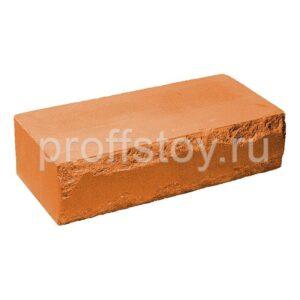Кирпич облицовочный полнотелый, ложковый, скол луч, персикового цвета, размер 250х115х65 мм