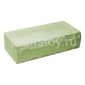 Кирпич облицовочный полнотелый одинарный ложковый, скол луч, цвет зеленый, размер 250х115х65 мм