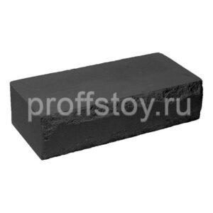 Кирпич облицовочный полнотелый, ложковый, скол луч, черного цвета, размер 250х115х65 мм