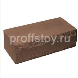 Кирпич облицовочный полнотелый, ложковый, скол луч, коричневого цвета, размер 250х115х88 мм