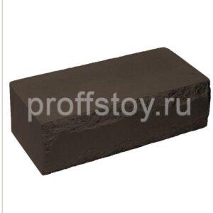 Кирпич облицовочный полнотелый ложковый, шоколадного цвета, скол луч, размер 250х115х88 мм