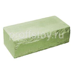 Кирпич облицовочный полнотелый полуторный ложковый, скол луч, цвет зеленый, размер 250х115х88 мм