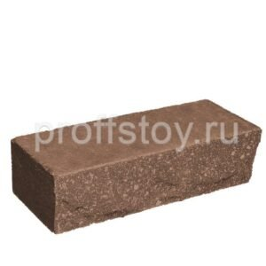 Кирпич облицовочный полнотелый, ложковый, скол скала, коричневого цвета, размер 250х90х65 мм