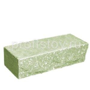 Кирпич облицовочный полнотелый одинарный ложковый, скол скала, цвет зеленый, размер 250х90х65 мм