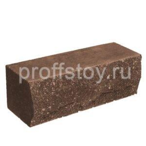 Кирпич облицовочный полнотелый полуторный ложковый, коричневого цвета, скол скала, размер 250х90х88 мм