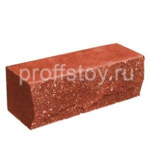 Кирпич облицовочный полнотелый, ложковый, скол скала, красного цвета, размер 250х90х88 мм
