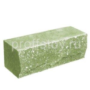Кирпич облицовочный полнотелый полуторный ложковый, скол скала, цвет зеленый, размер 250х90х88 мм
