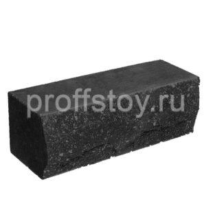 Кирпич облицовочный полнотелый ложковый, скол скала, черного цвета, размер 250х90х88 мм