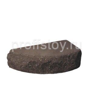 Кирпич облицовочный полнотелый одинарный полукруг, шоколадного цвета, скол скала, размер 225х90х65 мм