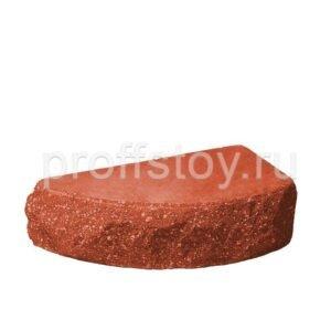 Кирпич облицовочный полнотелый одинарный для колонн, полукруг, скол скала, красного цвета, размер 225х90х65 мм
