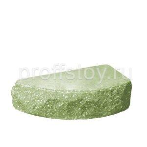 Кирпич облицовочный полнотелый одинарный полукруг, скол скала, цвет зеленый, размер 250х90х65 мм