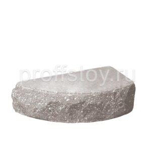 Кирпич облицовочный полнотелый одинарный для колонн, полукруг, скол скала, серого цвета, размер 225х90х65 мм