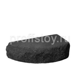 Кирпич облицовочный полнотелый одинарный полукруг, скол скала, черного цвета, размер 225х90х65 мм