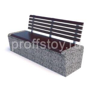 Скамейка бетонная парковая Арбат со спинкой