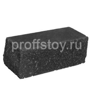 Кирпич облицовочный полнотелый угловои,̆ черного цвета, колотый, размер 225х100х88 мм