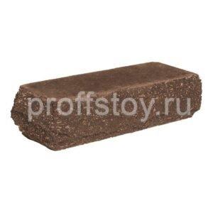 Кирпич облицовочный полнотелый одинарный угловои,̆ коричневого цвета, скол скала, размер 225х90х65 мм