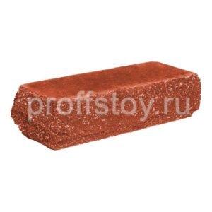 Кирпич облицовочный полнотелый, угловой, скол скала, красного цвета, размер 225х90х65 мм