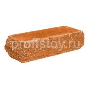 Кирпич облицовочный полнотелый, угловой, скол скала, персикового цвета, размер 225х90х65 мм