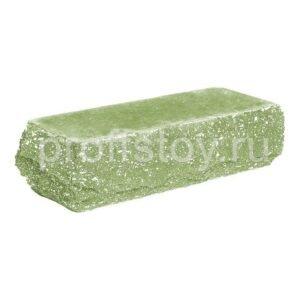 Кирпич облицовочный полнотелый одинарный угловой, скол скала, цвет зеленый, размер 225х90х65 мм