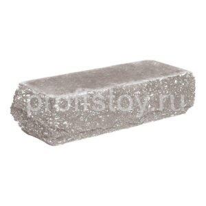 Кирпич облицовочный полнотелый, скол скала, угловой, серого цвета, размер 225х90х65 мм