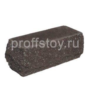 Кирпич полнотелый одинарный угловои,̆ шоколадного цвета, скол скала, размер 225х90х88 мм