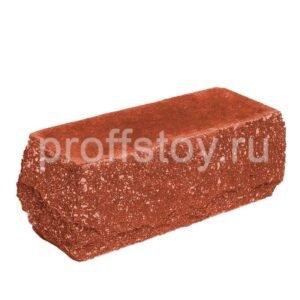 Кирпич облицовочный полнотелый, угловой, скол скала, красного цвета, размер 225х90х88 мм