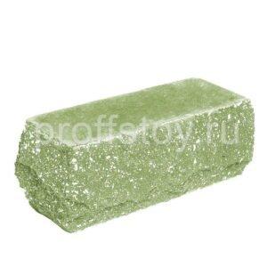 Кирпич облицовочный полнотелый полуторный угловой, скол скала, цвет зеленый, размер 225х90х88 мм