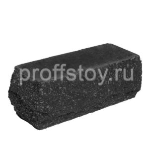 Кирпич облицовочный полнотелый угловои,̆ черного цвета, скол скала, размер 225х90х88 мм