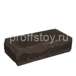 Кирпич облицовочный полнотелый угловои,̆ шоколадного цвета, скол луч, размер 245х115х65 мм