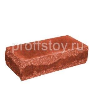 Кирпич облицовочный полнотелый, угловой, скол луч, красного цвета, размер 245х115х65 мм