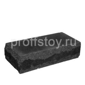 Кирпич облицовочный полнотелый угловои,̆ черного цвета, скол луч, размер 245х115х65 мм