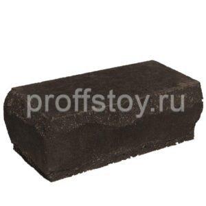 Кирпич облицовочный полнотелый угловой, шоколадного цвета, скол луч, размер 245х115х88 мм