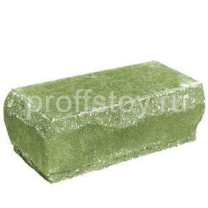 Кирпич облицовочный полнотелый полуторный угловой, скол луч, цвет зеленый, размер 245х115х88 мм